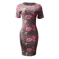 GUCCI Hot Sale Sexy Women Double G Letter Flower Print Short Sleeve Round Collar Knee-Length Dress