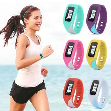 NEW Bracelet Watches Women Rubber LCD Pedometer Digital Wrist Watches Mens Lady Walking Distance Calorie Counter Watch Clock #Ju