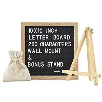 Best Felt Letter Board Sign Set with 290 Letters - 10 x 10 inches - Create Custom Messages - Changeable Black Felt with White Letters - Oak Wood Framed - FREE Canvas Bag and Canvas Stand