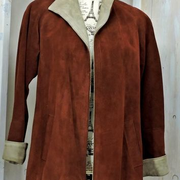 Vintage Suede Leather Coat / 80s Jordache / size M 7 / 8 / burgundy rust / Boho / Western / leather jacket