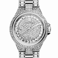 Women's Michael Kors 'Mini Camille' Crystal Encrusted Bracelet Watch, 33mm - Silver