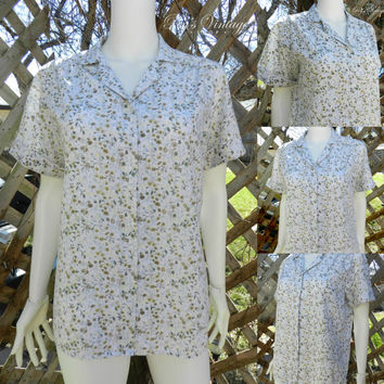Vintage 60s Flower Print Shirt, Kawaii White Day Blouse, Button Down, Short Sleeve Shirt, Collared Floral Shirt, Size M