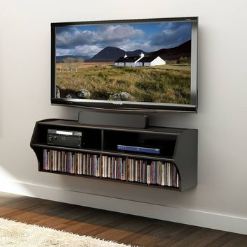 Brand New Wall Mounted A/V TV Audio Video Stand Cd Dvd Storage Living Room Black