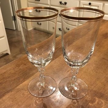 Set of 2 - Mikasa Wheaton 8 3/8 Crystal Tea Goblets Glasses Gold Rim Germany