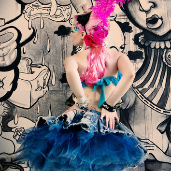 Up-Cycled Denim Dinosaur Effie Trinket Tutu Prom Dress by Janice Louise Miller