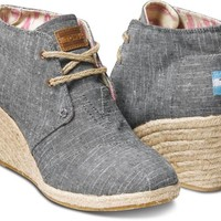 Toms Shoes Desert Wedge (Black Chambray) Shoes Womens Shoes at 7TWENTY Boardshop, Inc