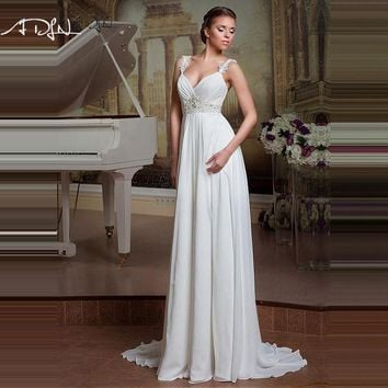 Simple Backless A Line Cheap Beach Wedding Dress 2017 Lace Wedding Gown Under 100 Bride Robe De Mariage Vestidos De Noiva