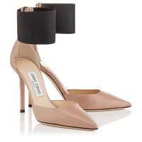 Ballet Pink Kid Leather and Black Elastic Pointy Toe Stilettos | Trinny 100 | Autumn Winter 15 | JIMMY CHOO Shoes