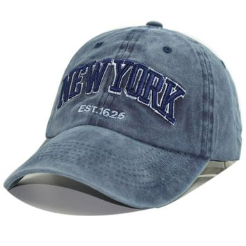 NEW YORK Mens Baseball Cap Embroidered Hip Hop Snapback Washed Cotton Cap Women Adjustable Casual Hat