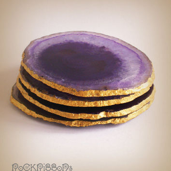 Purple agate coasters - set of four large drink coasters - semi precious purple sliced stone with metallic gilt gold edge finish.