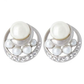 Simulated Pearls Clear Crystal Round Halo Stud Omega Earrings in Silver Plated