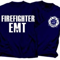 FIREFIGHTER EMT Navy Blue Duty T-Shirt