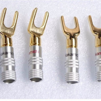 10pcs Nakamichi Brass Gold plated Y Spade Speaker Plugs Audio Screw Fork Connector Adapter