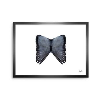 Wings - Black White Animals Digital Framed Art Print