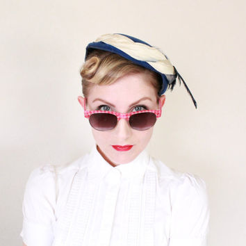 1940's Hat, VINTAGE, Tilt, WW2, Blue, Feathers, Spring,  Avant Garde, Pin Up, Artistic
