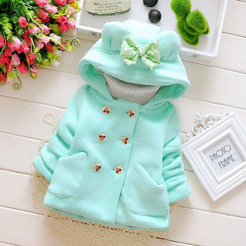 2016 New Casual Autumn Winter Baby Girls Infant Kids Double Breasted bow Princess Jacket Coats Outwears  Hoodies Y3846