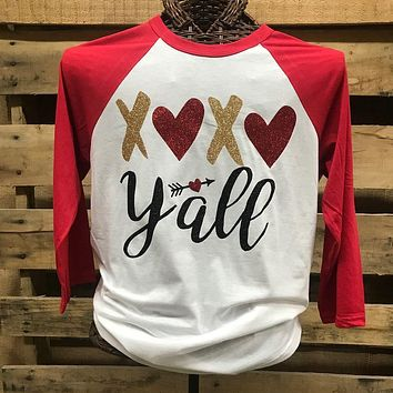 Southern Chics Apparel XOXO Y'all Heart Valentines Day Raglan Canvas Long Sleeve T Shirt