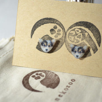 Baby Corgi Surgical Steel Earrings, tiny jewelry, handmade items with linen cotton bag