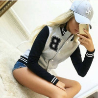 The women's baseball uniform fleece sport coat