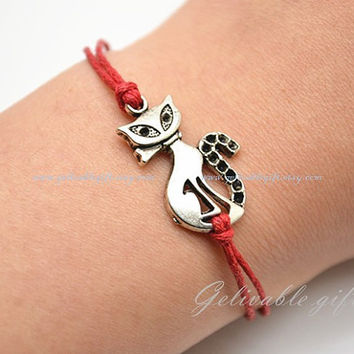 Cat Bracelet Bronze Bracelet,Red wax cord bracelet Alice in wonderland Cheshire Cat  charm bracelet BCC01