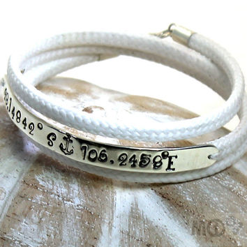 3 turns spectra bracelet, 6mm wide silver plate with longitude latitude engraved and anchor symbol