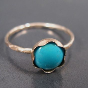Turquoise ring, skinny, December birthstone ring, Turquoise stacking ring, Turquoise  jewelry for everyday