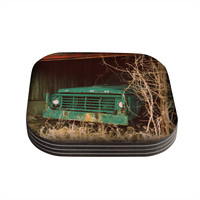 """Angie Turner """"Ford"""" Teal Car Coasters (Set of 4)"""