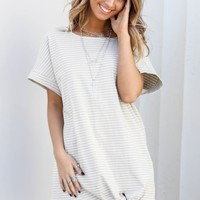 Be My Baby Gray Stripe Tie Jersey Dress