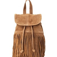 FOREVER 21 Fringed Suede Backpack Brown One