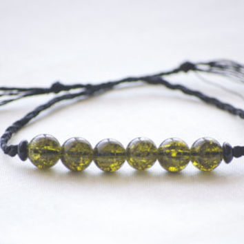 Boho Braided Beaded Bracelet - Dark Green Glass Beaded - Black Braided Bracelet - Bohemian Festival Bracelet - Summer Jewelry - Boho Wedding