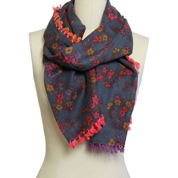 Navy Ditsy Print With Tassels Scarf, Scarves