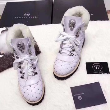 Philipp Plein Women Casual Low Heeled Shoes Boots-2