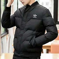 ADIDAS winter plus velvet warm men's sports and leisure wear cotton clothing Black