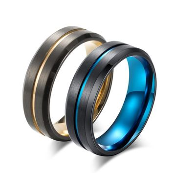 New Titanium Matte Black Mens Ring Double Color Ring Blue/Gold Color Thin Line Ring Wedding Band Male Alliance Jewelry 8mm