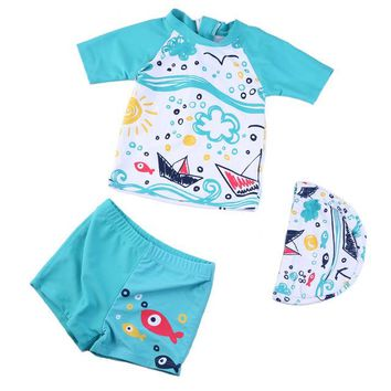 Fanceey 2018 Summer Baby Swimwear Lovely Children Boys Swimming Suit 3pcs Kids Swimsuit Toddlers Clothes Baby Beachwear Outfits