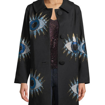 Libertine Crystal-Embellished Eyes Long-Sleeve Wool Coat