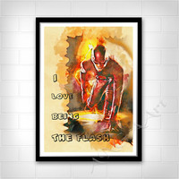 The Flash poster art, Barry, I love being The Flash, Quote, Instant download, Movie quote, Digital Print, Room decor, Wall print, The Flash