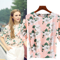 Foral Print Short-Sleeve Blouse