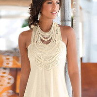 Summer Lace Stitching  Sleeveless Open Back T-shirt