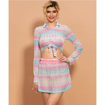 Spring and summer new two-piece sweet printing long-sleeved skirt dress women