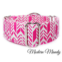 2 inch martingale collar, 1.5 inch hot pink martingale collar, italian greyhound collar, herringbone dog collar, wide whippet collar, modern