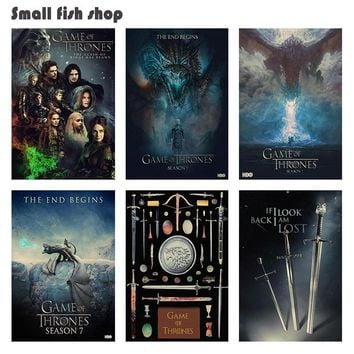 Game of Thrones Season 7 Home Furnishing decoration Kraft Movie Poster Drawing core Wall stickers