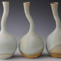 Three Vases with Altered Bottle Necks Cool Shades by jakesclayart