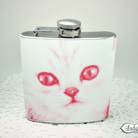 Pink Kitty Hip Flask - Pink LR101