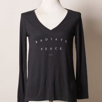 Radiate Peace Flowy V Neck Tee
