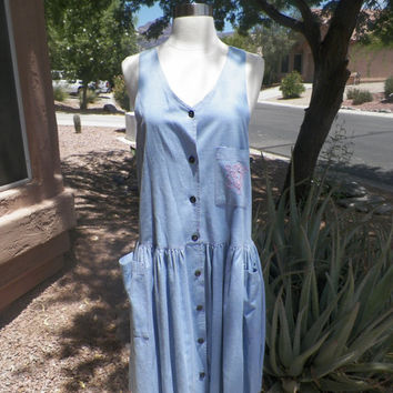 Vintage Dress. Tank Top Dress. Sleeveless Dress.  LA GAL. Size Small. Cotton Dress. Light Blue. Button Up Front. 80s.