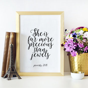 BIBLE COVER She Is Far More Precious Than Jewels Printable Art Bible Verse Wall Art Printable Art Proverbs 31:10 Christian Gifts Quotes