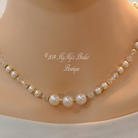 Pearl and Gold Bridal Necklace, Gold Filled Bridal Jewelry, Wedding Jewelry, Bridesmaid Necklace, Choose Your Colors