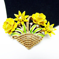Vintage Flower Basket Brooch - Crown Trifari Rhinestone Brooch - Yellow Enamel Flowers - Clear Rhinestones - Basket of Flowers - 1950s 1960s