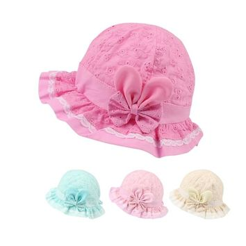 Lace Panama Baby Girls Hat Summer Sun Cap For Girls Hollow Cotton Bucket Hat Bow Flower Princess Baby Cap Baby Girls Clothing